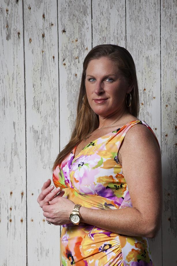 Lesli in front of white distressed door   Midtown Mobile, AL   Todd Douglas Photography