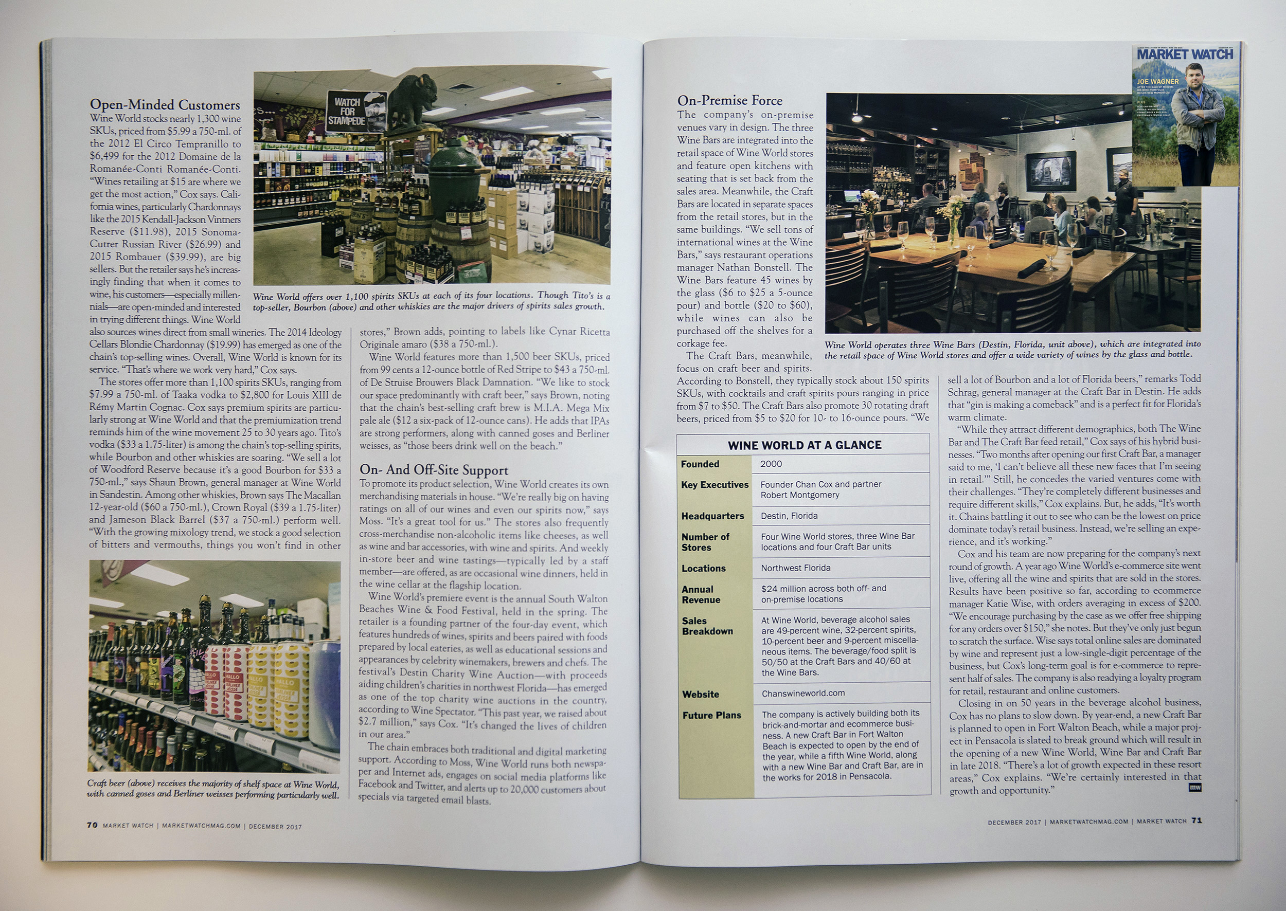 Next two pages of the article about Chan Cox's Wine World in Destin, Florida.