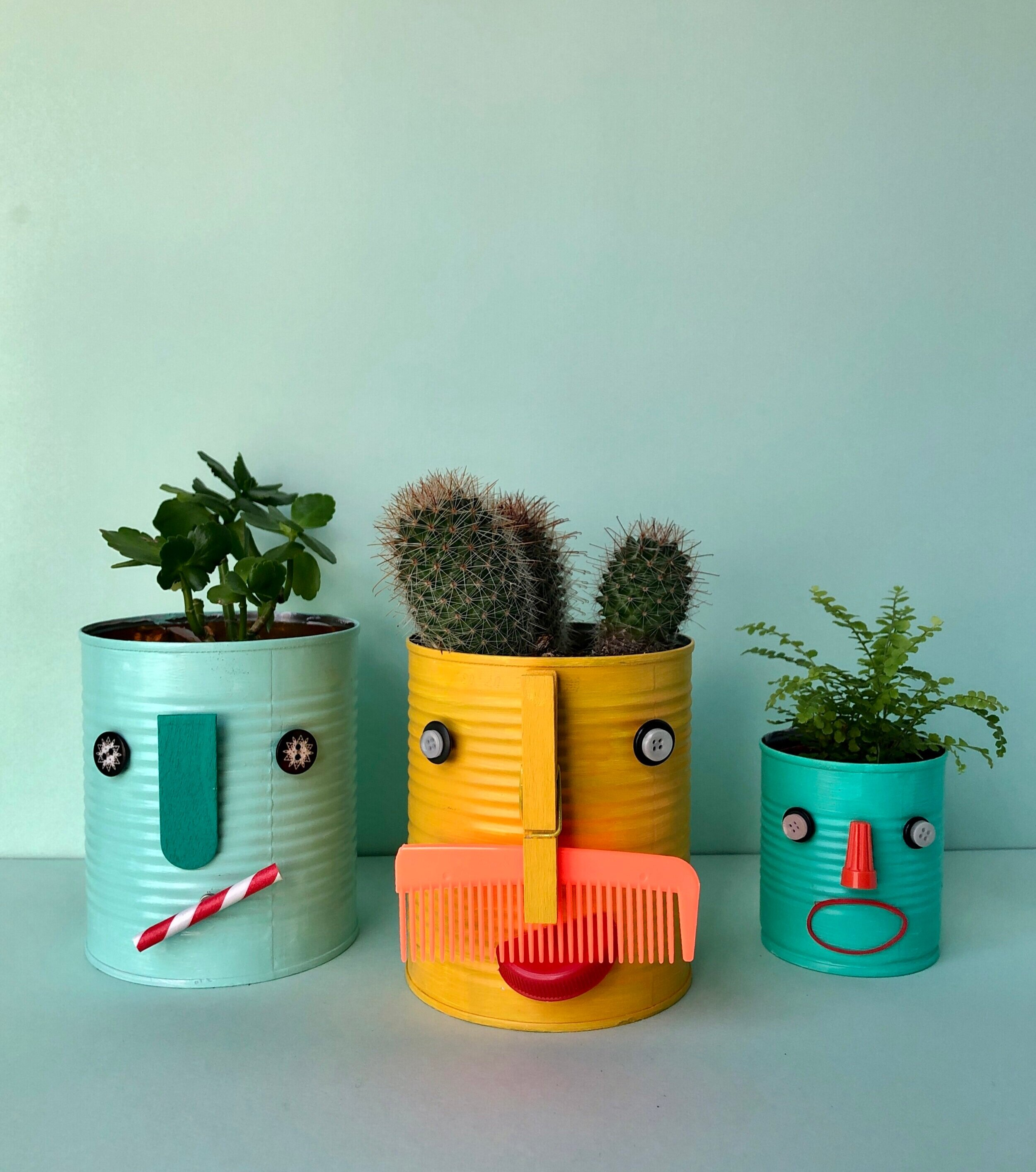 Recycled Funny Face Planters That You Can Play With Super Make It