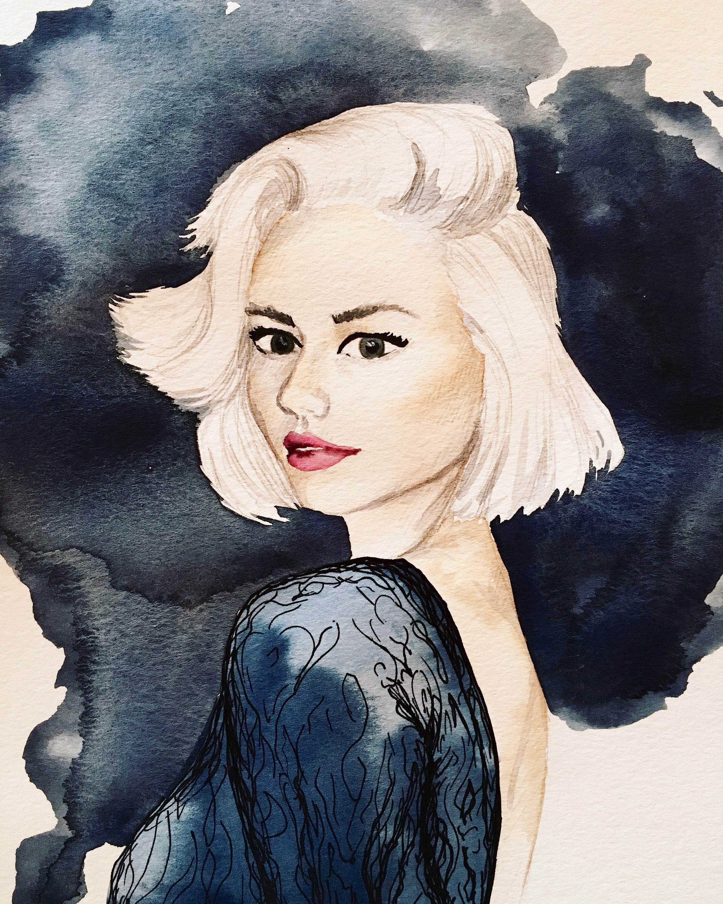 Watercolor - Blonde Bob