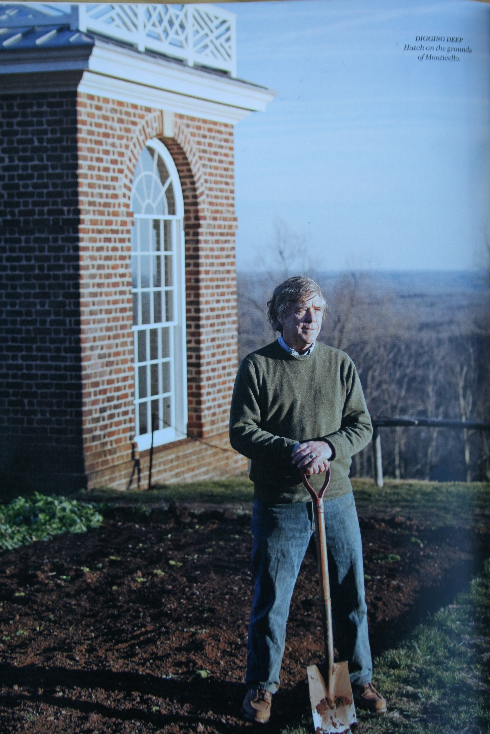 """Peter Hatch in Monticello garden. From  Garden and Gun  Magazine, """"Southern Heroes, 11 Visionaries Saving the South's Wild Places,"""" April/May, 2012"""
