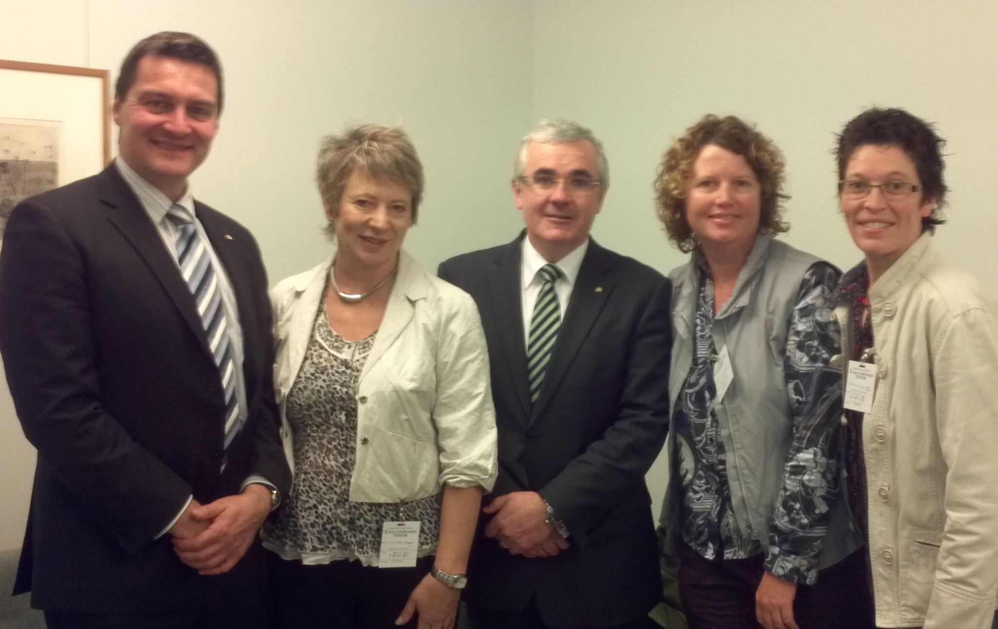Lobbying MHR Andrew Wilkie in Canberra, with Rodney, Jen and Jen. October 2011