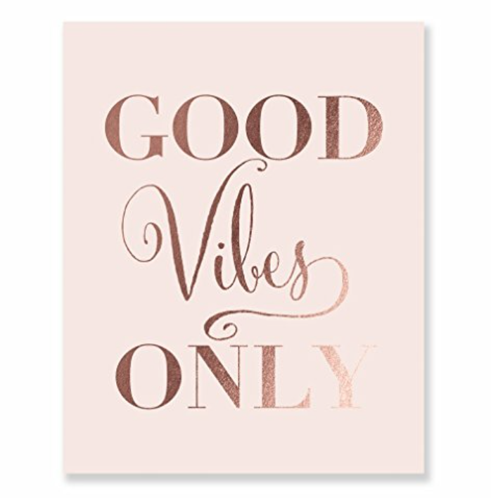 Good Vibes Only Rose Gold Foil Decor Pink Wall Art Print Inspirational Quote Metallic Pink Poster