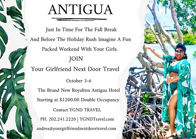 """Gather Your Girls⠀ ⠀ Vacation season never ends. There's nothing like taking a vacation when the kids are back in school and the storm has settled. It's time for the real adult turn-ups to happen.⠀ ⠀ Before the frost bites join us this Fall at the beautiful brand new Royalton Resort in Antigua. Space is limited but the fun is real.⠀ ⠀ Assemble Your Friends⠀ When you're planning to go away, you have to make sure that all of your girls are in it to win it. While thinking of where to go on vacation together and how to get there, create a group chat for everyone to make it easier to prep and make decisions quickly.⠀ ⠀ For more information contact ⠀ http://yourgirlfriendnextdoortravel.com⠀ ⠀ See You Soon!⠀ ⠀ YGND Travel for the best overall experiences. Your Girlfriend never lets you down. If you need a friend I'm Travel look no further than Your Girlfriend Next Door. She always available to lend a hand. ⠀⠀ ⠀⠀ Hi Best Friend, Sister, Girlfriend! ⠀⠀ ⠀⠀ My motto as a """"Happy Girl"""" has literally taking flight. I have dedicated myself to live a purposeful, fulfilled and happy life.⠀⠀ ⠀⠀ Friends That Travel Together Stay. Book your next trip with YGND Travel ⠀⠀ ⠀⠀ YourGirlfriendNextDoor #DarlingEscapes #GirlsWhoTravel #mothersday⠀⠀⠀ #TravelGram #LoveToTravel #TravelDiary #ViewFromTheTop⠀⠀⠀⠀⠀⠀⠀ #SimplyAdventure #Travelagency #WeAreTravelGirls #DameTraveler #FlashesofDelight #OpenMyWorld #WheretoFindMe #Travelagent #BeautifulDestinations #TravelInBetween #SheIsNotLost #WeAreTravelGirls⠀⠀⠀⠀⠀⠀ #FemmeTravel #GirlsAbroad #Girlsborntotravel #GirlAroundWorld #TravelGirlsGo #TheTravelWomen #GirlDiscoverers #GlobelleTravels #TheFairytaleBloggers #Girlslovetravel⠀"""