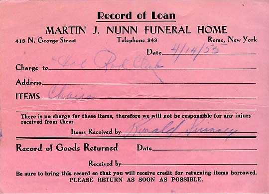 "A receipt for the loan of chairs from Nunn's funeral home signed by Ron Swinney.  Please note the ""Please return as soon as possible"" printed at the bottom..  ."
