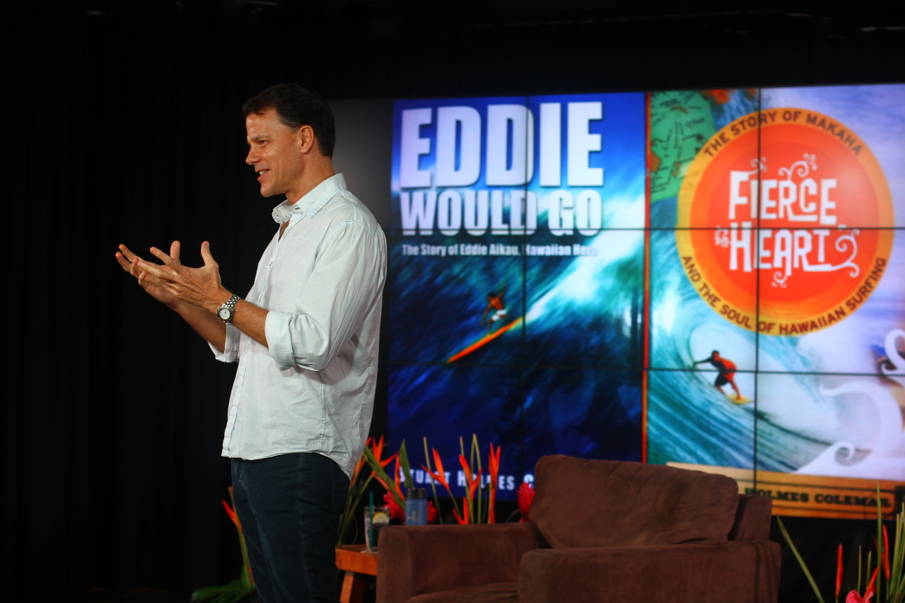 Stuart Coleman speaks about Eddie Would Go, Fierce Heart, and The Fourth Wave at Wanderlust 2014 | Spring on the North Shore of Oahu | Photo by Amanda Michaels-Zech