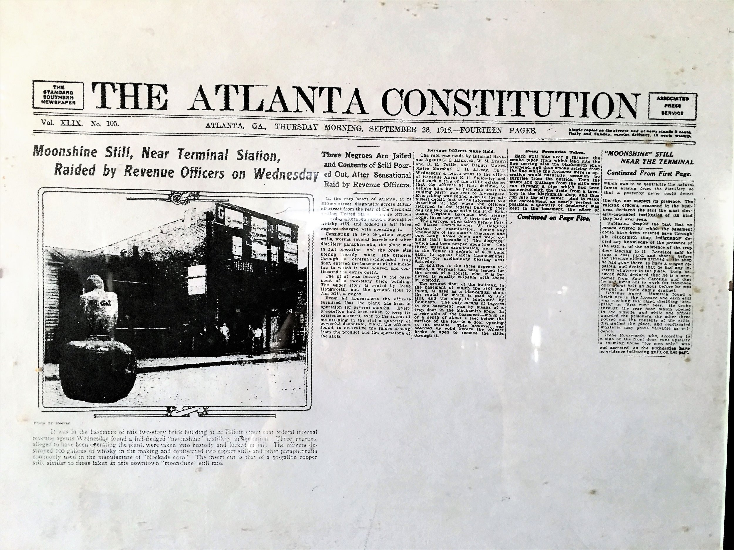Copy of 1916 Atlanta Journal Constitution article about still raid.