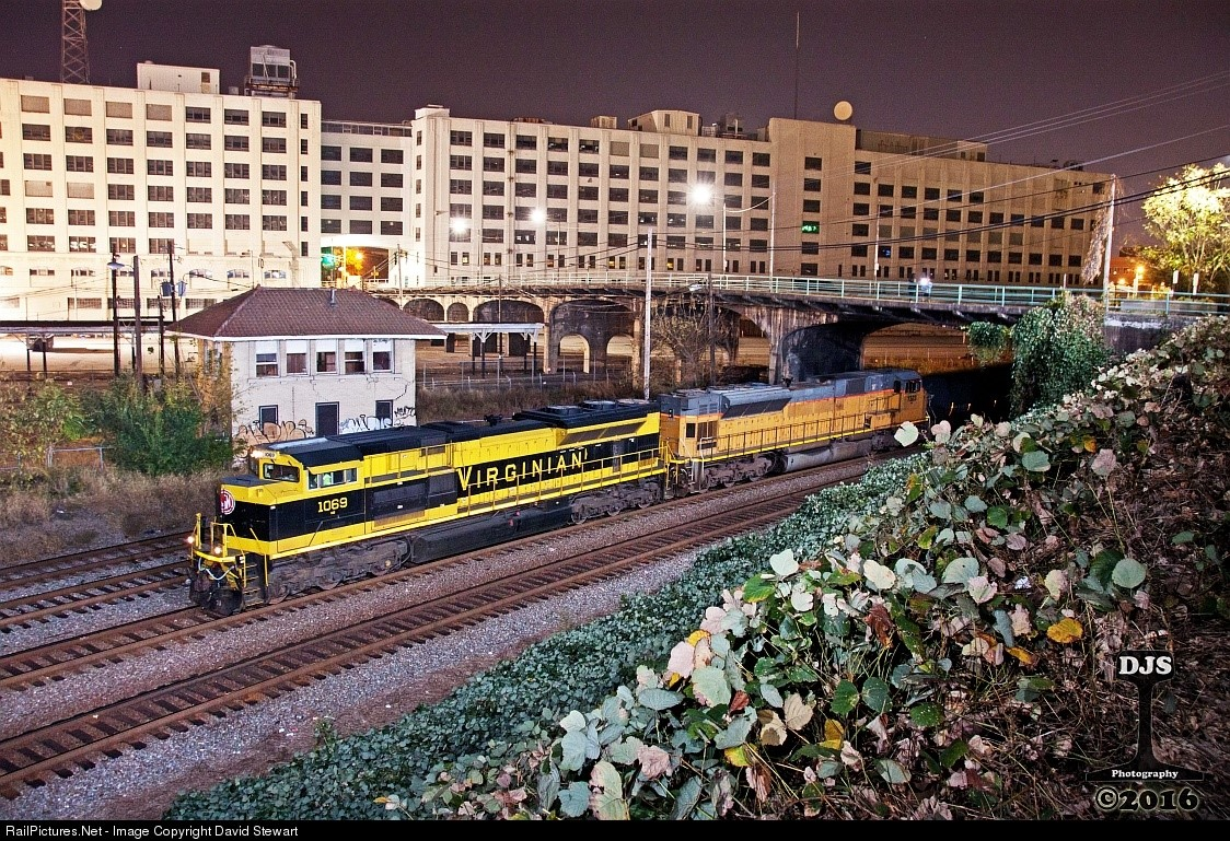 Trains running in 1970's with Norfolk Southern building in background.