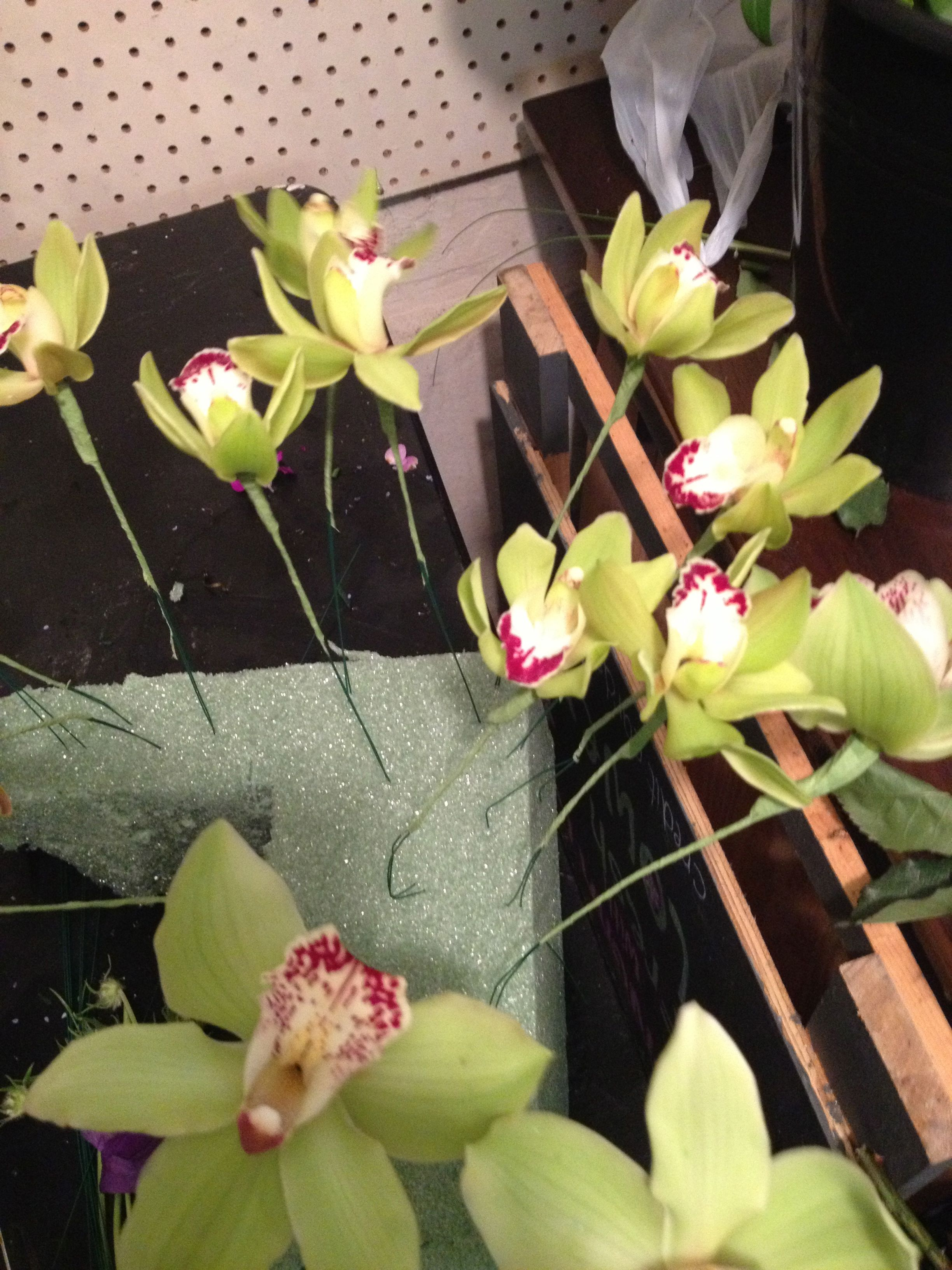 Cymbidium orchids wired and ready to go into the bridesmaids and bridal bouquet