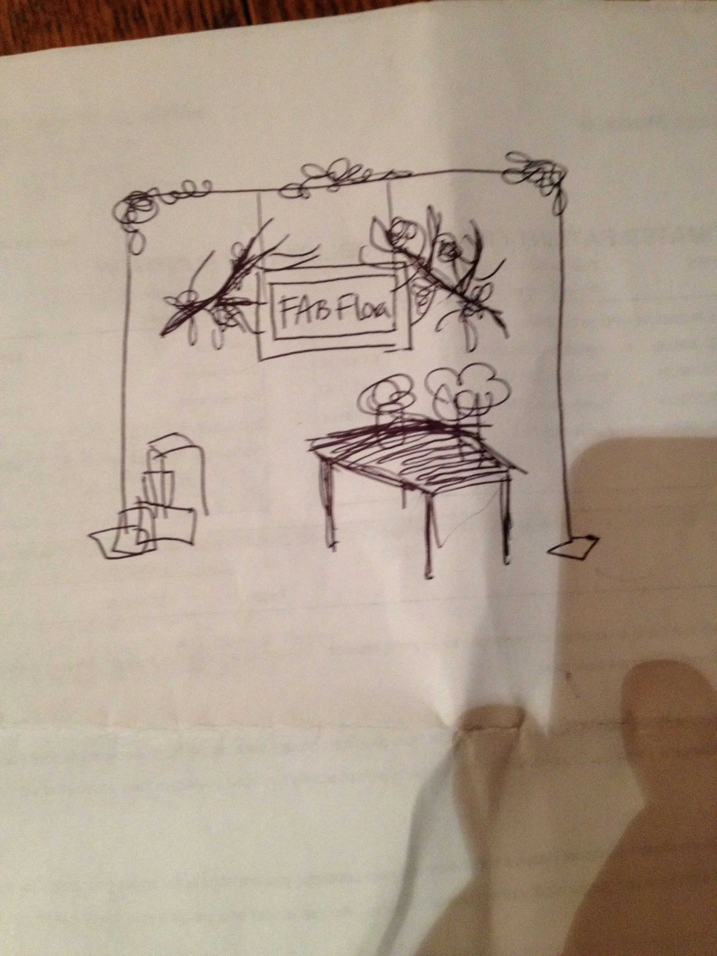 The booth layout sketch