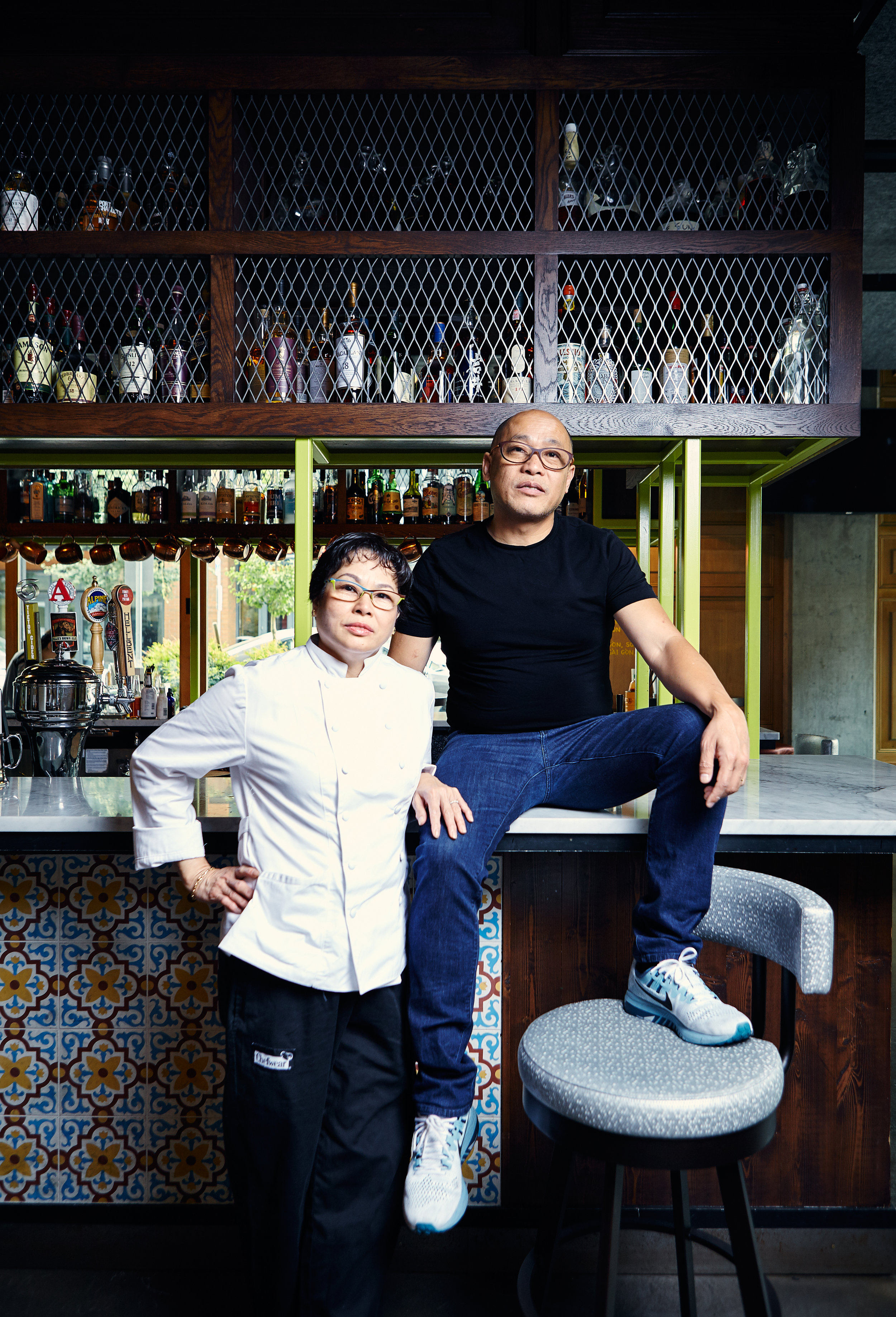 Portrait of BaBar owners Sophie and Eric Bahn for Discover SLU Magazine.