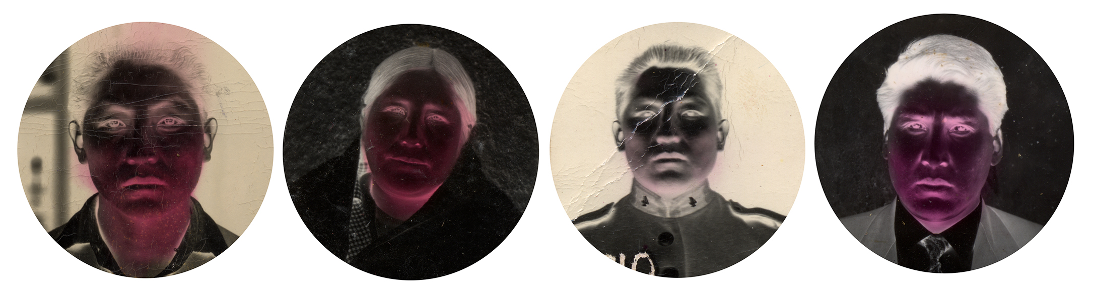 """Whitening Identities   Through applying red ink to the negative, the photographer makes the image lighter in tone. In this case, the photographer modifies the color of the faces of clients who ask him to, making them appear whiter. Fanon argues that colonized subjects internalize an inferiority complex induced by colonizers, which the colonized attempt to mediate by appropriating or emulating the culture of the colonizer—including appearance. Some clients consequently choose to modify their images to reflect an appearance more similar to the dominant perception of positive western attributes.   Process of """"One Minute PhotoPostcards.""""   Using photographic printing paper the photographer would expose a sheet of paper to obtain a negative image, the entire process involves developing, stopping, and fixing the image inside the camera itself, protected by a fabric that covers the photographer to insulate the process. During the process of negative creation, the image can be manipulated to change tonalities. In that context brushing the negative with red ink provides a filter to obtain a lighter tonality on the skin. The negative is then placed on a stand in front of the camera and photographed (to obtain a positive), developed, stopped, and fixed, and then the final print is washed in a can of water attached to the tripod."""