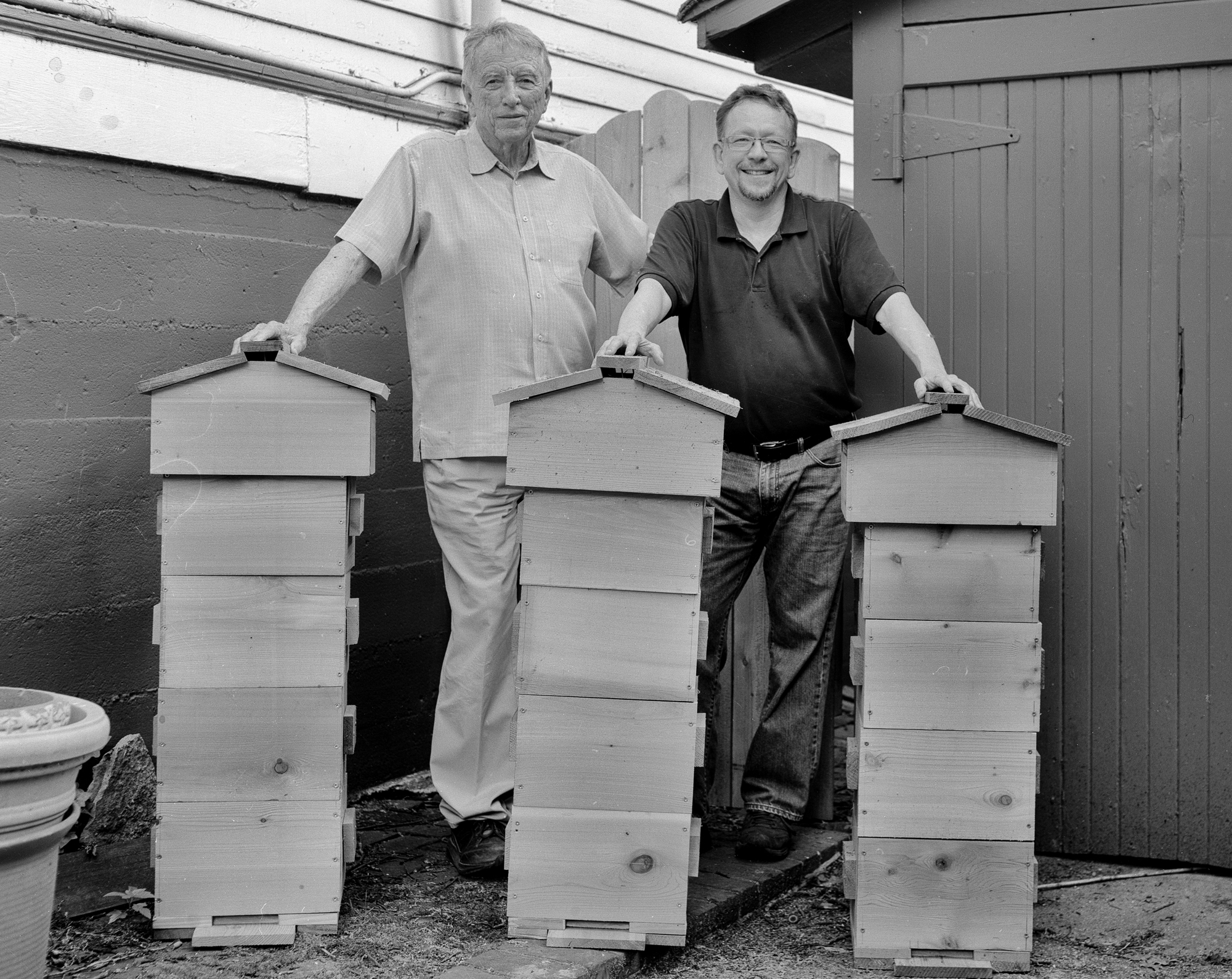 My three Warré hives, newly built with the help of my father.