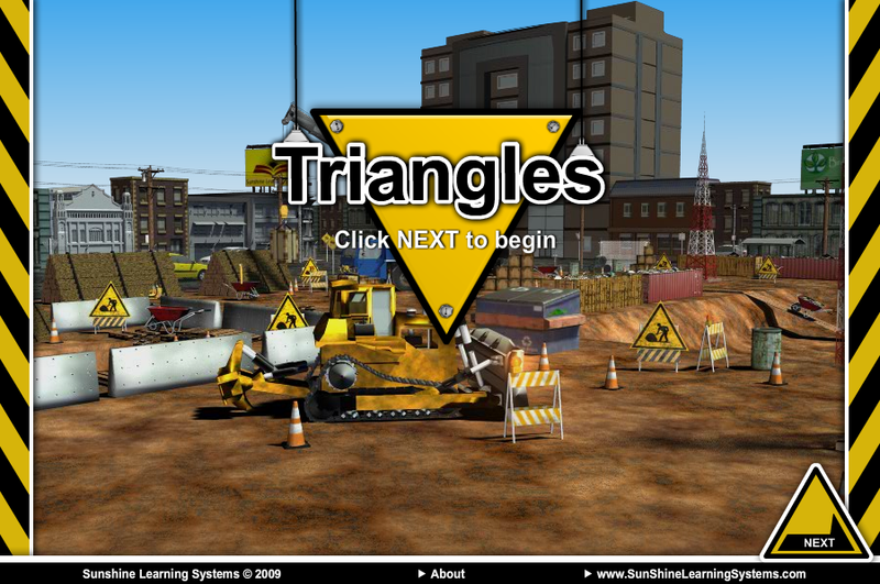 Triangle Lesson Demo  Demo I created for a concept kids game. Animated and created 2D graphics using  Flash  Coded with  Action-Script 3  . Lit the environments, vehicles and buildings were pre-made for demo purposes ( Maya ). (There will be 3 blank screens, due to the swf trying to load external movies that are not up on this site)