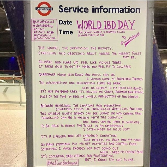 It's #WorldIBDday today! Love this from @allontheboard ❤️ Sending love to anyone suffering with #Crohns or #Colitis 💪 #ItTakesGuts #Chronicillness #Invisibleillness