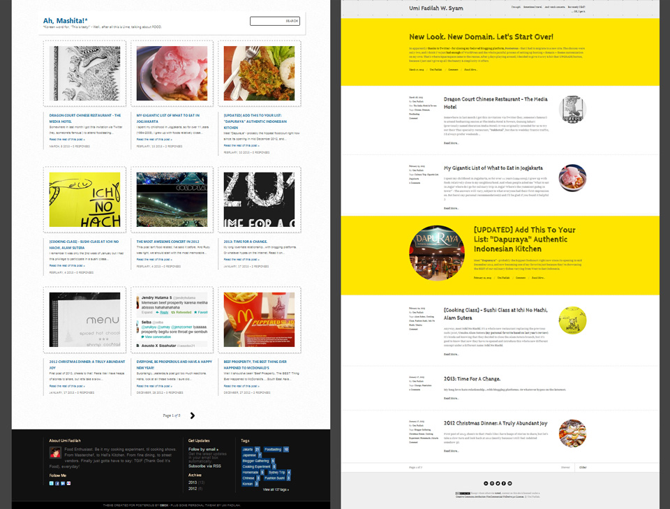 Old site by Posterous vs new site by Squarespace.