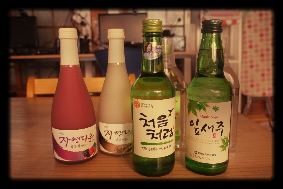 Makgeolli and Soju, two alcoholic beverage native to Korea