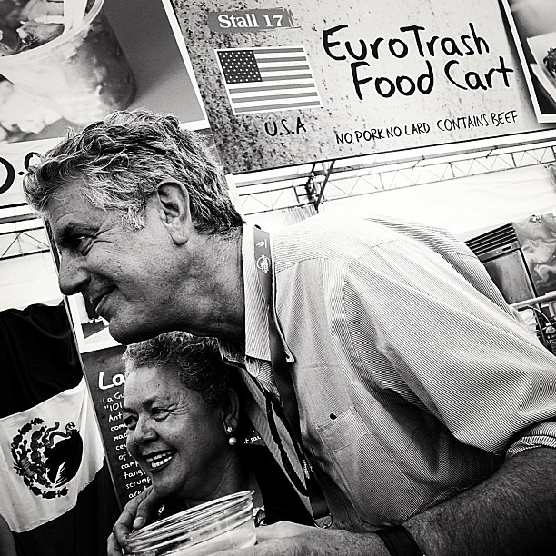 "^TOP: Anthony Bourdain with Sabina Bandera of La Guerrerense at WSFC 2013. Sabina is also titled ""Ensenada's queen of street seafood""! Image taken from  @williamwongso's Instagram . Credits to the respective owner.     >RIGHT: A little bit of La Guerrerense history on the stall."