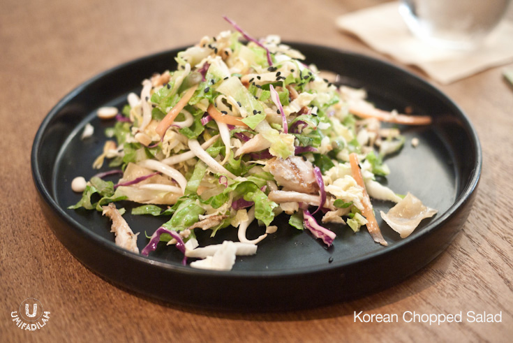 Korean Chopped Salad (IDR 35k)  - Napa cabbage, radicchio, papaya, bean sprout, lentil and black sesame with fried spring roll pastry with soy dressing. Can you tell from the description and photo above that it's full of distinct flavors that just work really great together? Although I think maybe some additional protein won't hurt.