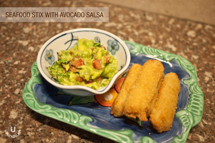 Seafood Stix with Avocado salsa. Fiesta Seafood that I use: Seafood stix. Dipping done within 5 minutes!