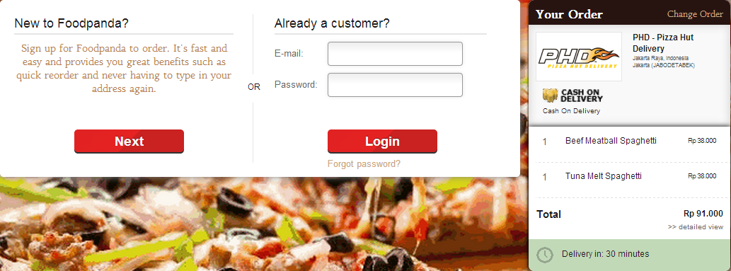 Register for a new Foodpanda account.