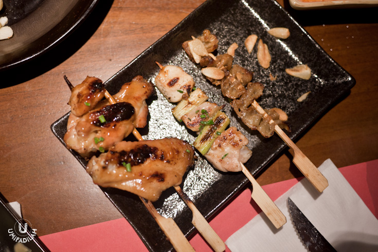 From left to right:  Tebasaki IDR 12.000  (grilled chicken wings),  Salty Yakitori, Tori Kawayaki IDR 12.000  (grilled chicken skin). Great succulent wings!