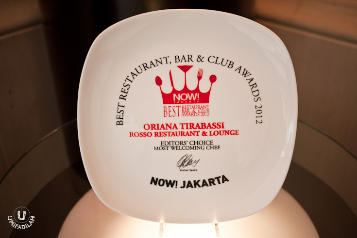 Voted as the  Most Welcoming Chef  in the Best Restaurant, Bar & Club Awards 2012 by NOW! JAKARTA.