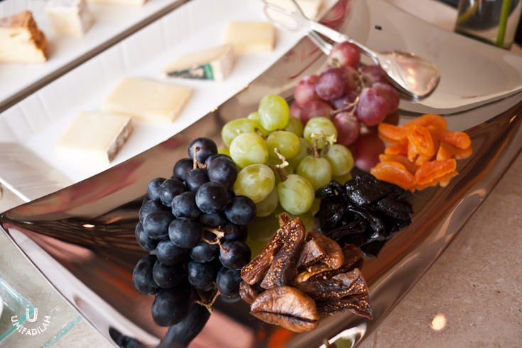 Assorted grapes and dried fruit:  Figs, Californian Plum and Apricot.
