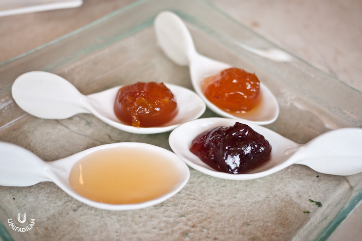 Honey and homemade compotes:  apricot, orange, and strawberry.