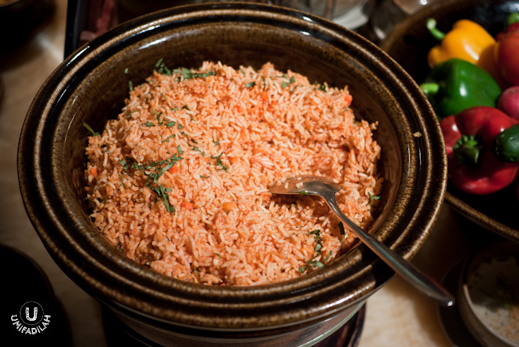 Mexican Red Rice.  Also known as  Arroz Rojo , this one's totally different from our version of Indonesian fried rice. In this case, rice are toasted on a pan until golden brown before cooking them in tomato broth. No excessive oily after-taste.