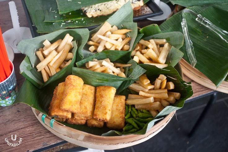 Fried cassava chips (IDR 5k) and chicken risoles (IDR 5k)