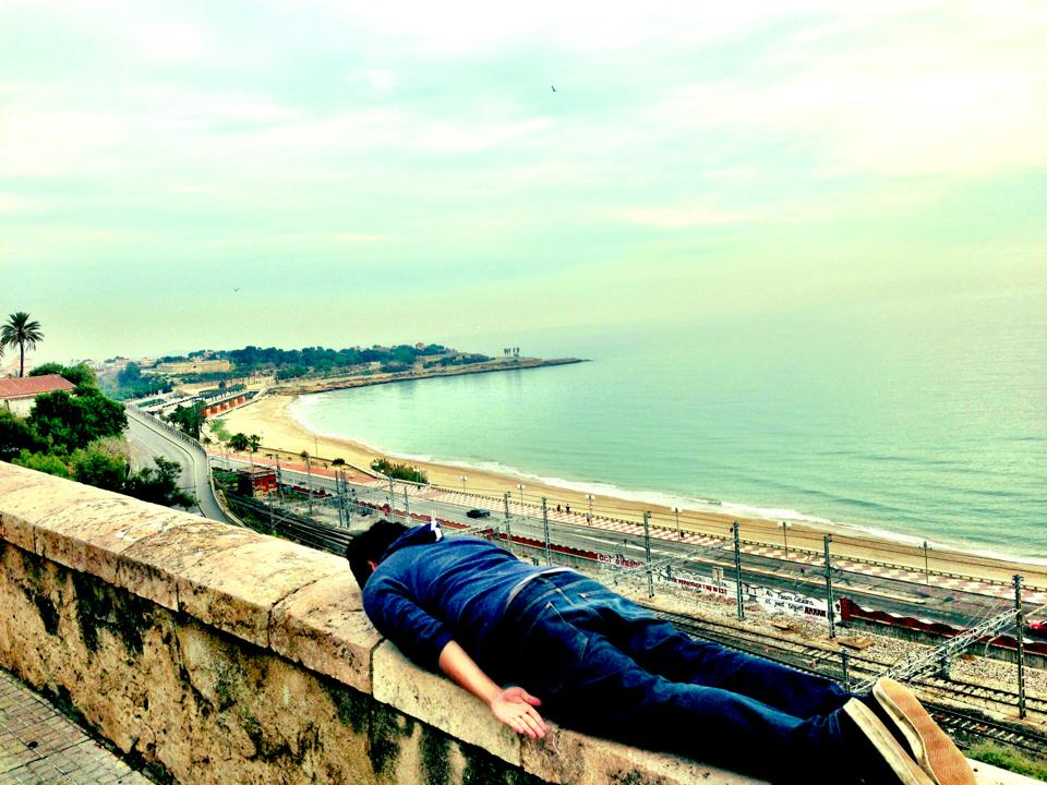 His first plank in Spain. At   Balco de Mediterrani  , Tarragona.