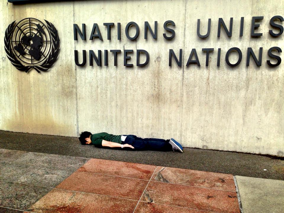 "He wrote this on Facebook:  ""A 5 minutes plank in front of the UN. Making a statement that planking should be a part of the UN Millennium Development Goals.""   Haha, whatever dude, whatever."