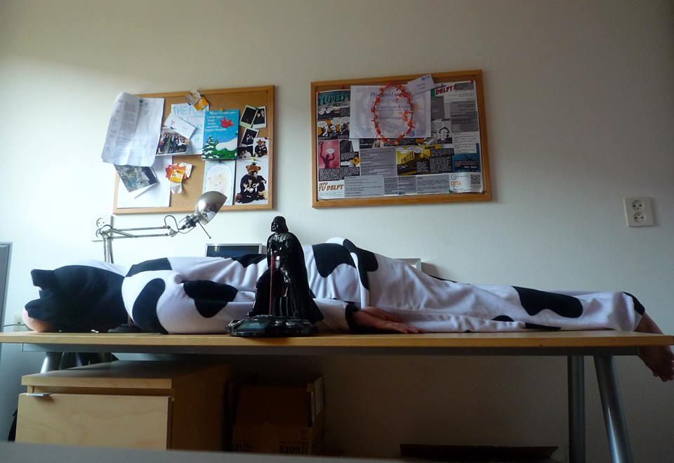 After planking with Darth Vader costume, he managed to plank with this cow suit as well. Bravo, Kaisar.