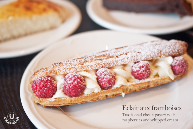 Éclair aux framboises/Raspberry Eclair (IDR 50k).    This. Was. So. Delicious! Not a single thing goes wrong with Paul's éclair. Perfect texture of the choux pastry, fresh raspberries and oh the not-overly-sweet custard cream served at the perfect chilled temperature….. MOUTHGASM. It's as good as  Cacaote 's version of éclair, a bit pricier (50k versus 38k-ish) but also way bigger than theirs. But Cacaote has the Salted Caramel Eclairs which I really love!