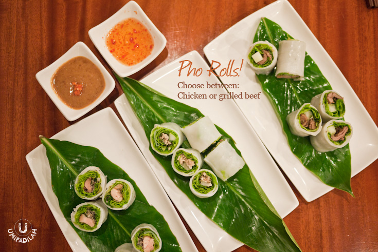 Pho Rolls  are among the newest menu coming up in MonViet. You miss sushi when eating Vietnamese food? Try a healthier option of substituting rice with pho sheets.... IT'S AWESOME. I'd opt for their grilled beef version because it's really good!