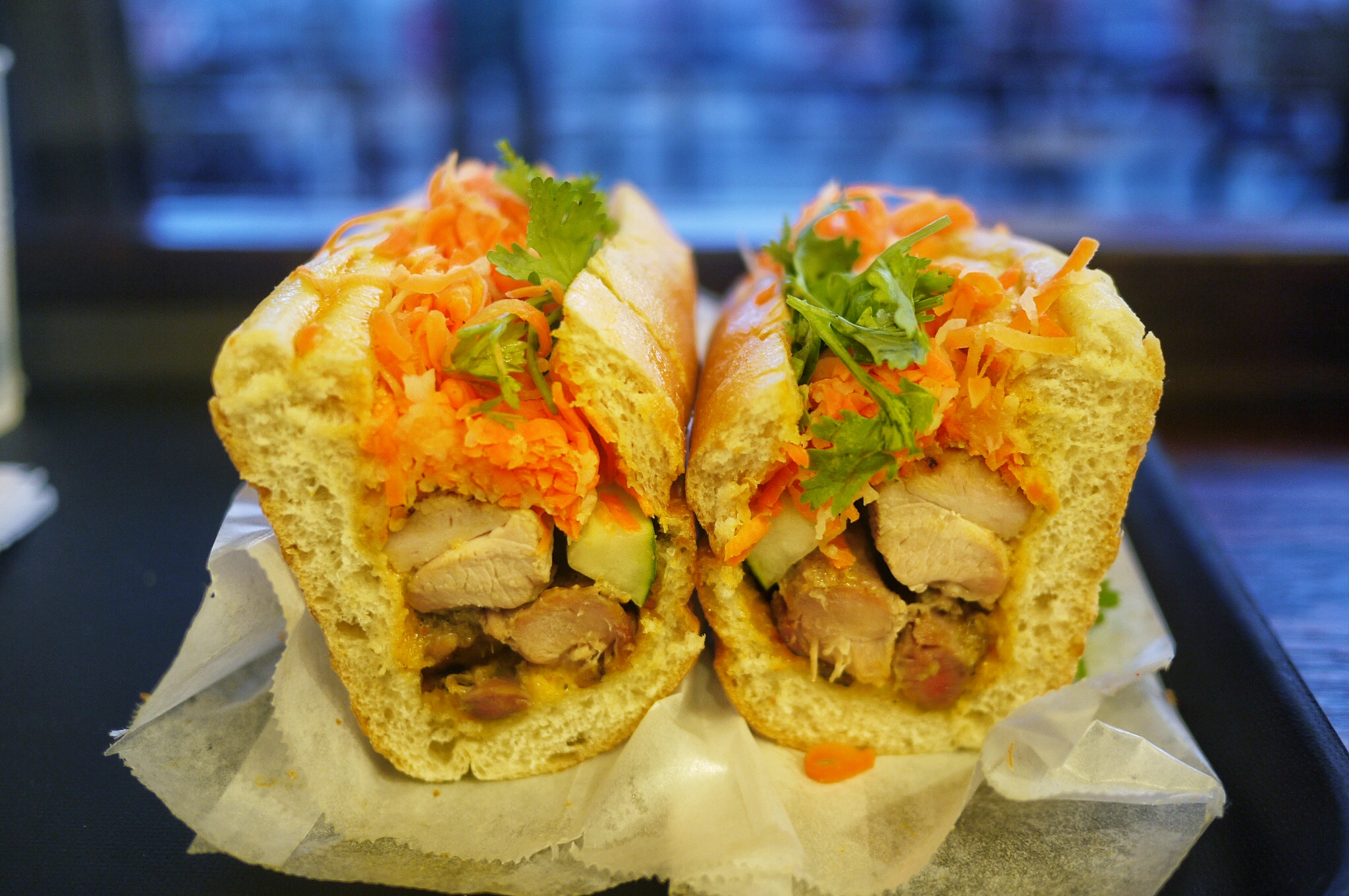 Lemongrass Chicken Banh Mi $4.99 . The lemongrass marinated chicken thigh was generous and so tasty! The banh mi bun is also at its perfect texture, crunchy outside yet soft inside. It's everything I wished for, although I do hope they give more cilantro to it.