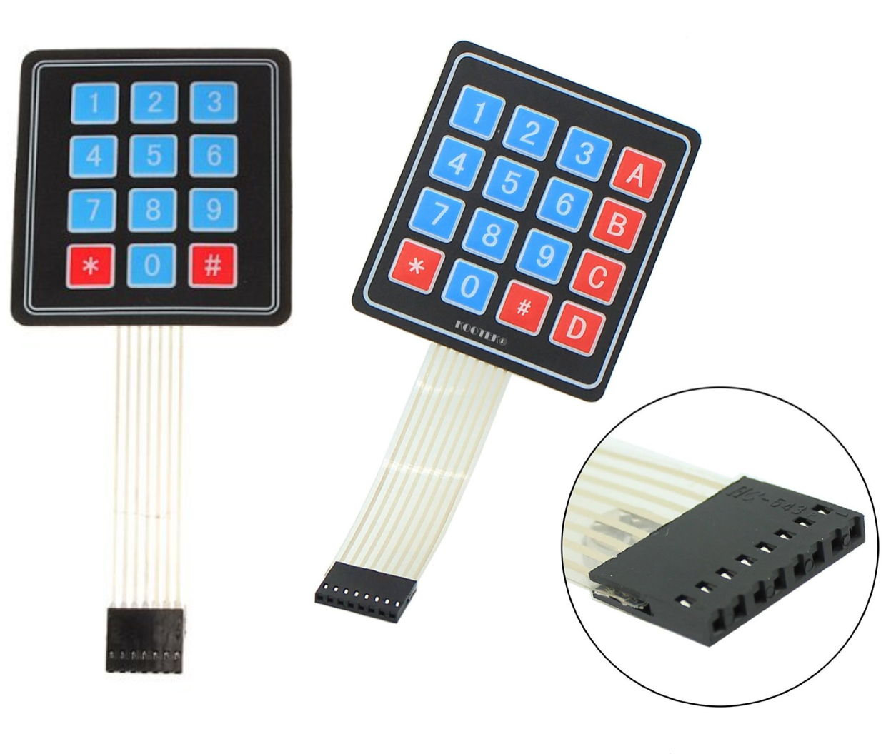 Another alternative inputs in case I could not get my phone's keypad to work:  Left:  4x3 Matrix 12-Key Array Membrane Switch Keypad Keyboard    Right:  4x4 Universial 16 Key Switch Keypad Keyboard For Arduino