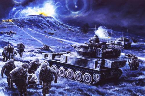 Battle for Wireless Ridge, Falklands, 13th June 1982 by David Pentland.