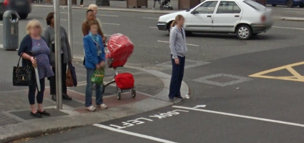 Picture from Google Maps. Example of Crosswalks telling pedestrians which direction to look for oncoming traffic.