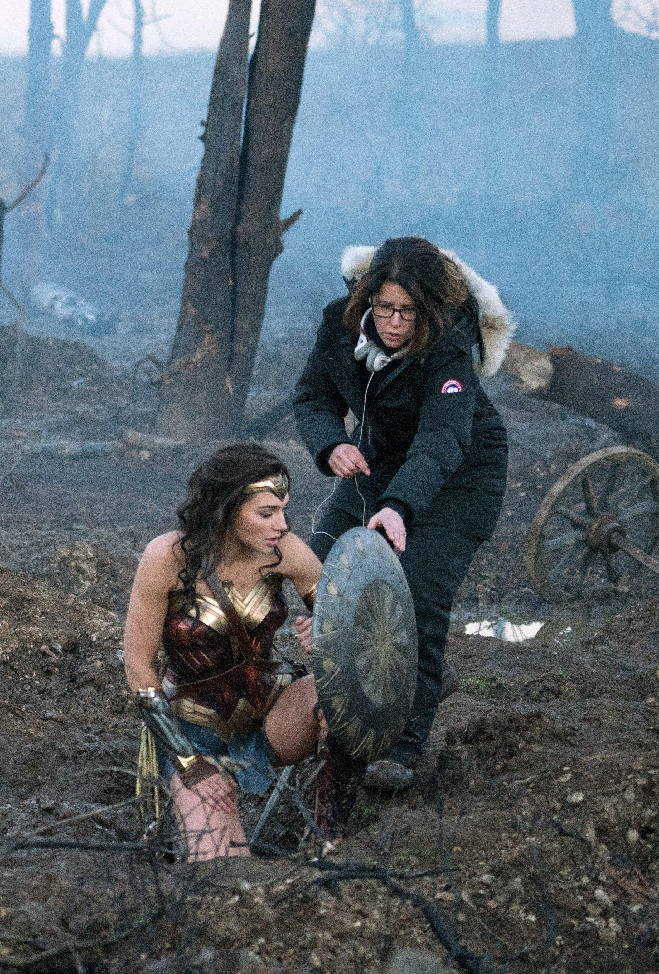Director Patty Jenkins giving Gal Gadot instruction.