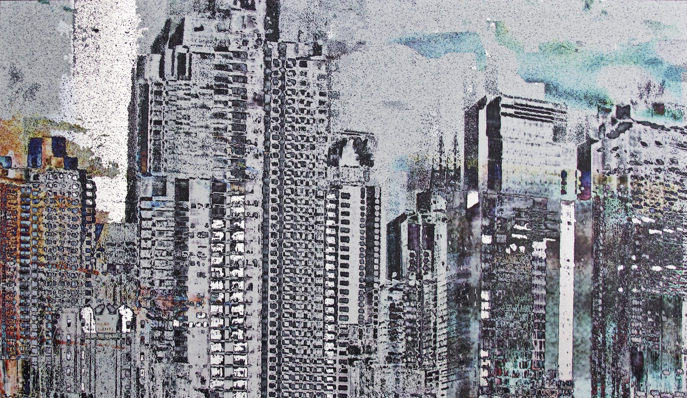 "Strong Silence, Fragmented Patterns, Photo Composite, UV Ink on Aluminum, 20.9""x36"""