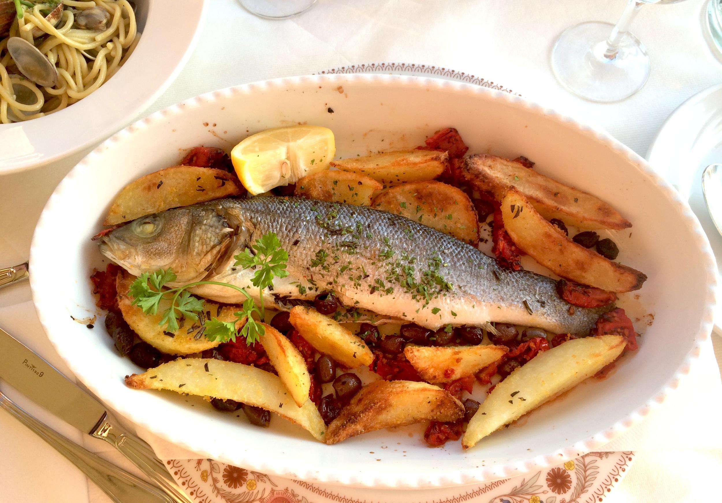 My sea bass roast with potatoes and sun-dried tomatoes