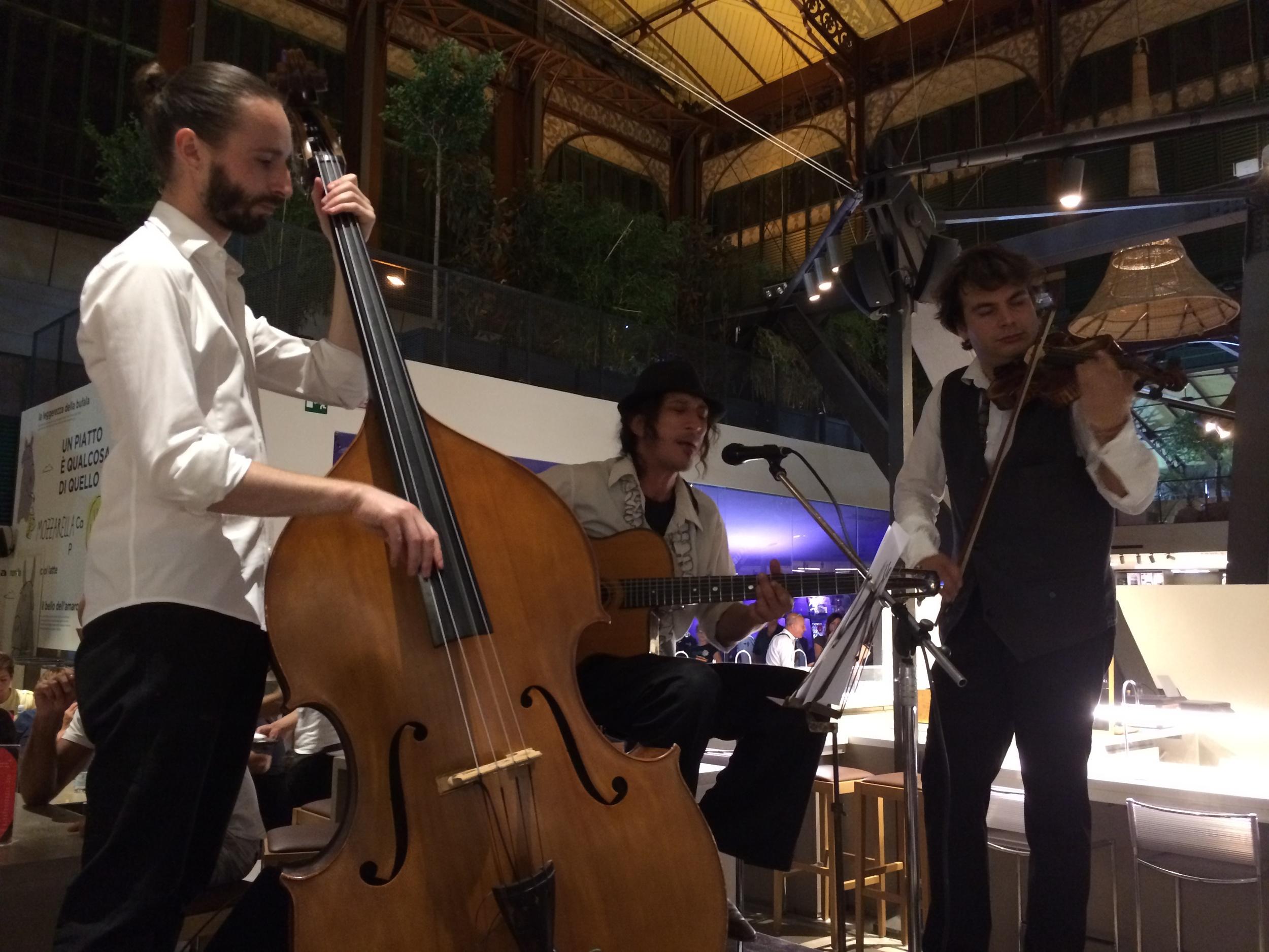 "The amazing live band playing ""gypsy jazz"""