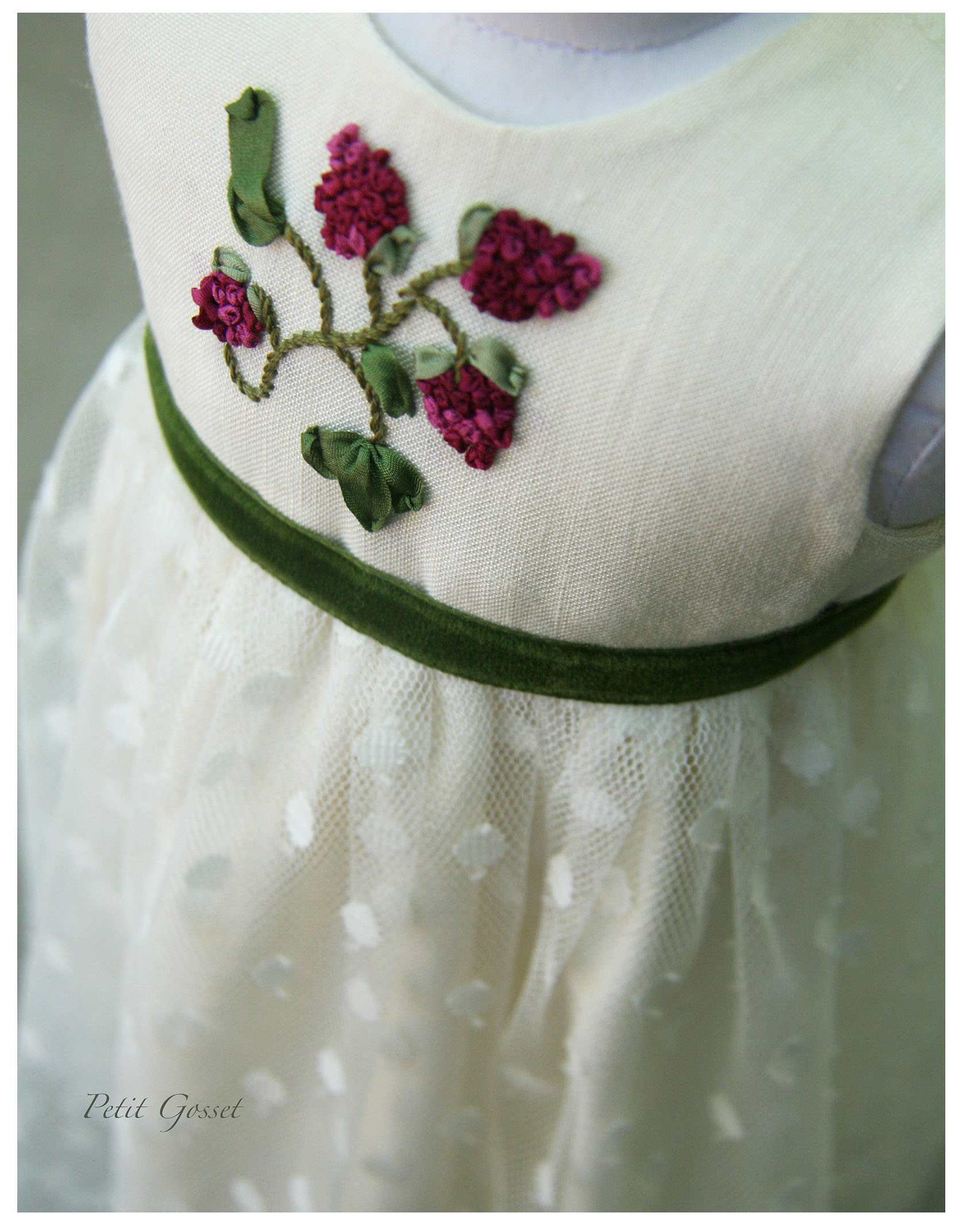 "with beautiful silk ribbon embroidery and a velvet sash. Made to fit an 18"" doll."