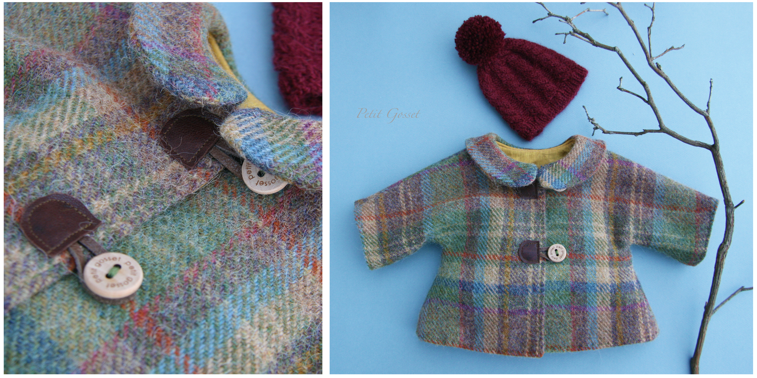 "Fully lined wool coat withwooden buttons and a hand-knitted baby alpaca hat. Will fit 18-20"" doll."