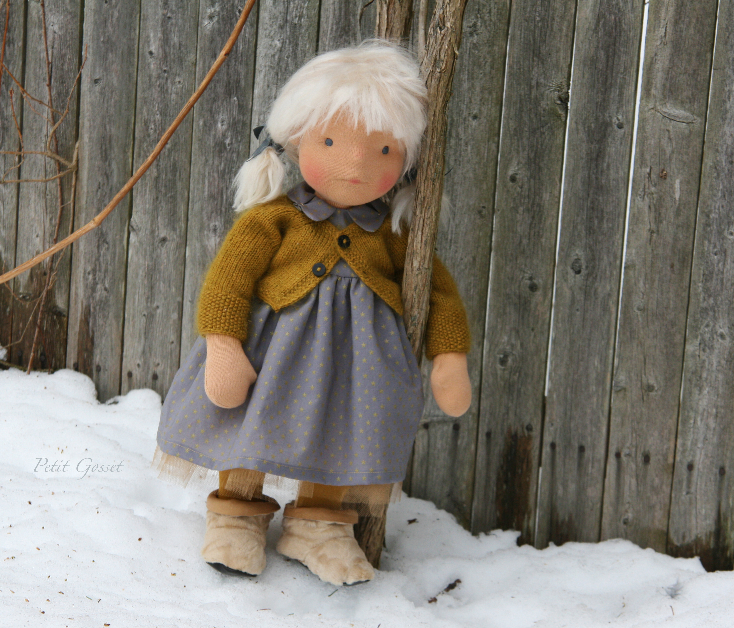 Malou - a natural fiber art doll by PetitGosset