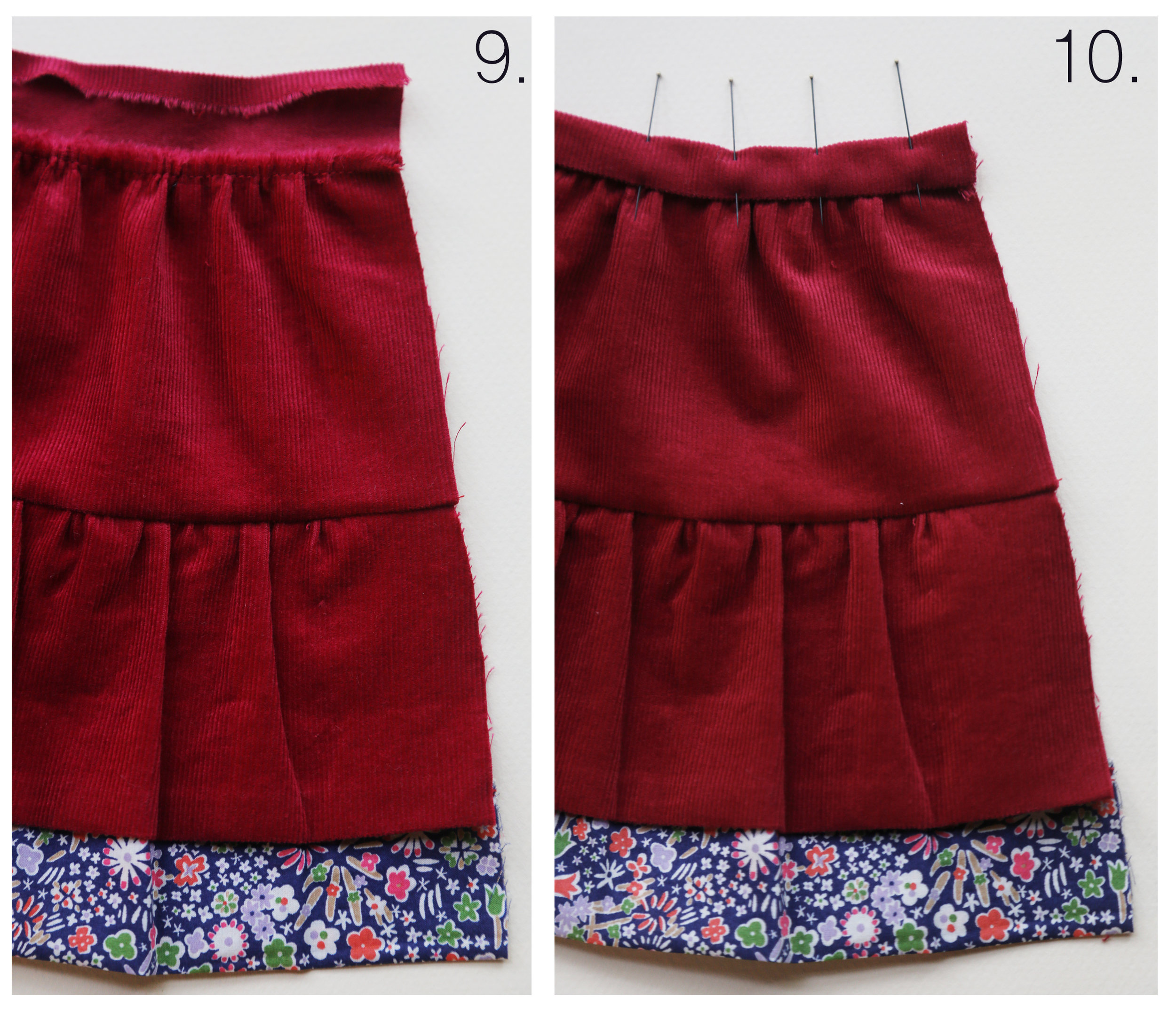 "Step-by-step tutorial on how to sew a tiered skirt for an 18"" doll, by Petit Gosset"