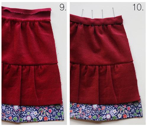 """Tutorial paso a paso sobre cómo coser una falda escalonada para una muñeca de 18 """", por Petit Gosset"""