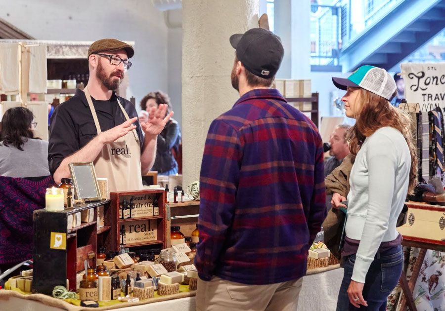 Vendor,   Real. Soaps   chatting with shoppers at our 2015 Spring Show